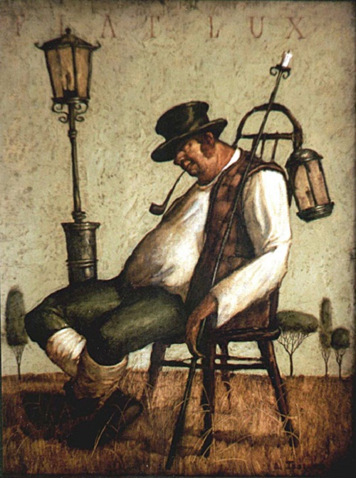 Lamplighter. Painting by Vladimir Gvozdev