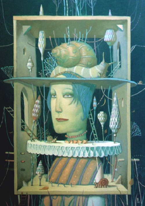 A box with snails. Surreal painting by Vladimir Gvozdev