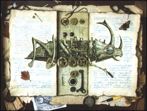 Beatle. Surreal steampunk by Russian mixed-media artist Vladimir Gvozdev