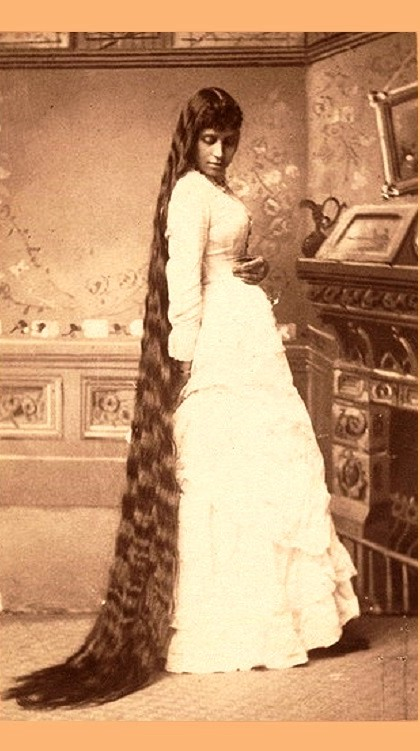 Woman with long hair, retro card