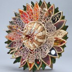 Sunflower. woodturning by British artist Joey Richardson