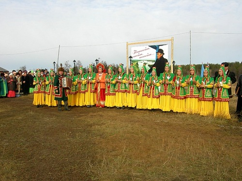 Yakut people in folk costumes at festival