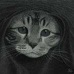 Cat's face. Scratchboard painting by American artist Dan Berg