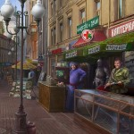 Arbat street. Military equipment and uniform sellers. Realistic illustrations by Russian self-taught artist Igor Savchenko