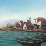 Boats on the sea shore. Realistic illustrations by Russian self-taught artist Igor Savchenko