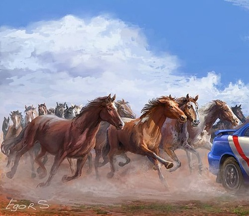 Racing Herd of Horses. Illustration by Moscow based artist Igor Savchenko