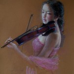 Violin player. Pastel painting by Paris based artist Lixu Ping, China