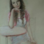 At the table. Pastel painting by Paris based artist Lixu Ping, China