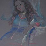 Gorgeous girl's portrait. Pastel painting by Paris based artist Lixu Ping, China