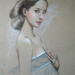 Elegance and beauty. Pastel painting by Paris based Chinese artist Lixu Ping, China