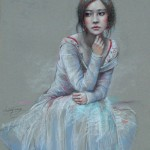 A girl in a nylon dress. Pastel painting by Paris based artist Lixu Ping, China