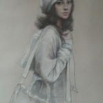 A girl with a bag. Pastel painting by Paris based artist Lixu Ping, China