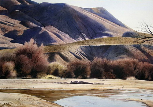 Afternoon at the robledos. Watercolor realistic landscapes by American artist Robert Highsmith