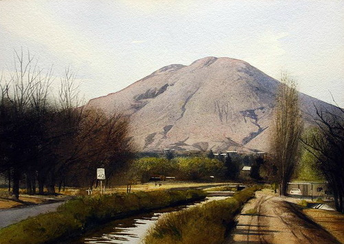 Speed limit 40. Watercolor realistic landscapes by American artist Robert Highsmith