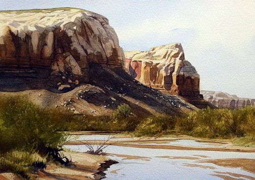 On the cottonwood. Watercolor realistic landscapes by American artist Robert Highsmith