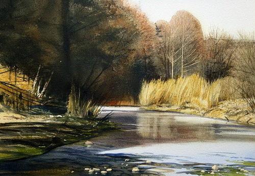 Beautiful Watercolor landscape by American artist Robert Highsmith
