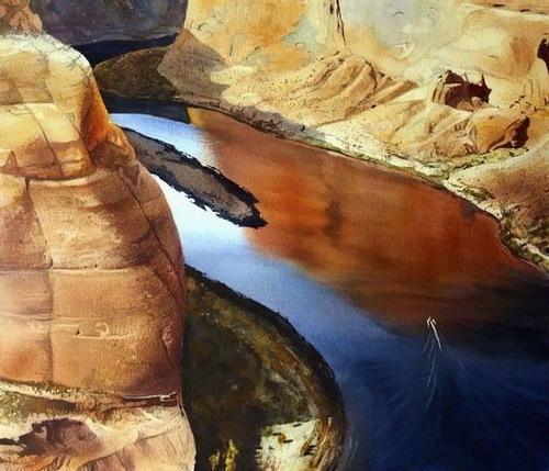 Rounding the bend. Watercolor landscape by American artist Robert Highsmith