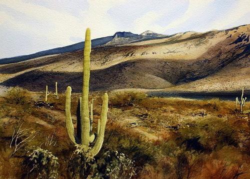 Arizona desert, watercolor landscape by American artist Robert Highsmith
