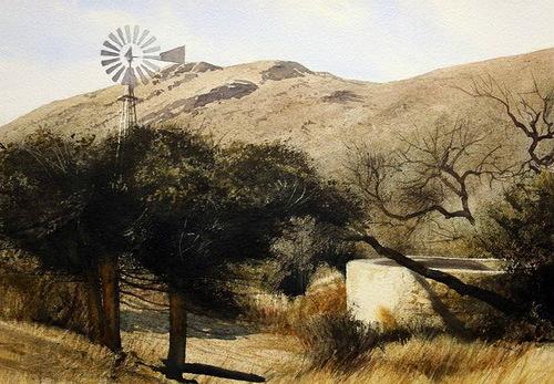 Windmill at soledad. Watercolor landscape by American artist Robert Highsmith
