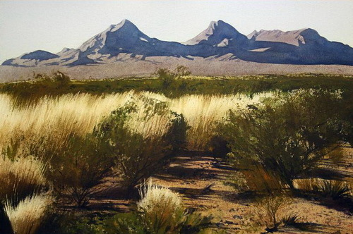 View of the dona anas. Watercolor. Realistic landscapes by American artist Robert Highsmith