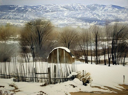 Adobe in the snow. Photo realistic landscapes by American artist Robert Highsmith