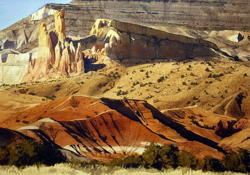 Morning in the canyon. Watercolor. Photo realistic landscapes by American artist Robert Highsmith