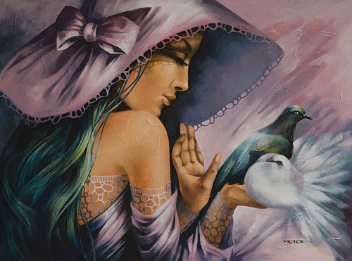 A couple of doves. Painting by Victoria Stoyanova