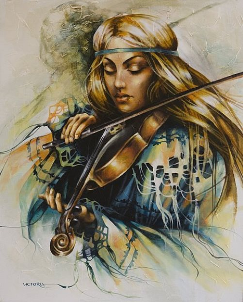 Playing the violin. Painting by Victoria Stoyanova