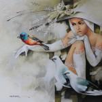 Birds and beauty. Painting by Victoria Stoyanova