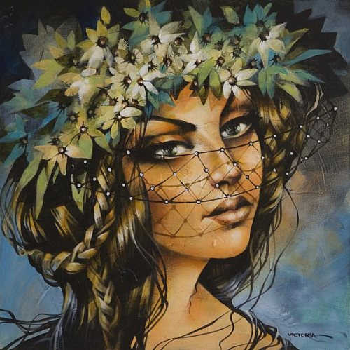 Flower wreath. Painting by Victoria Stoyanova