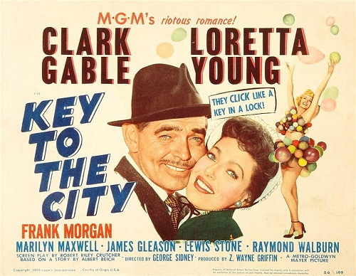 clark gable and loretta young in the film key to the city - poster