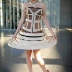 dress made of laminated and bent wood (and some bolts to hold it all together), designed by Grace Johnston