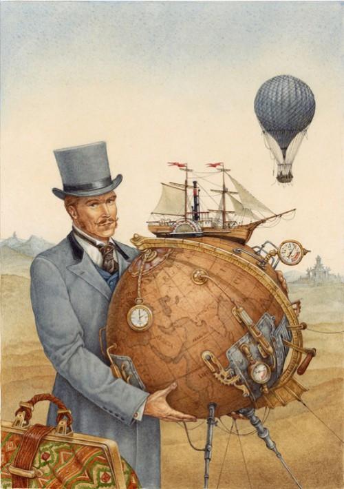 Around the World in 80 Days (on adventure novel by the French writer Jules Verne). Great illustrations by Leo Kaplan