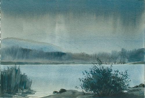 At the lake. Illustrations by Ukrainian artist Leo Kaplan