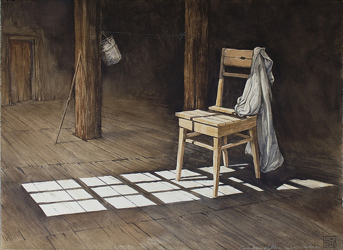 A chair and shadow. Illustrations by Leo Kaplan