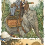 Riding an elephant. Around the World in 80 Days (on adventure novel by the French writer Jules Verne). Illustrator Leo Kaplan