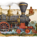 Steam train. Around the World in 80 Days (on adventure novel by the French writer Jules Verne). Illustrator Leo Kaplan