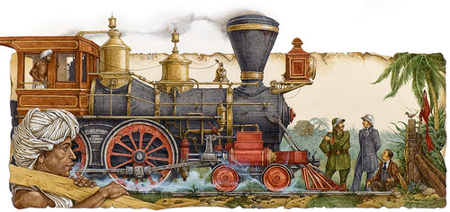 Steam train. Around the World in 80 Days (on adventure novel by the French writer Jules Verne). Illustrator Leo Kaplan