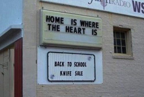 knife sale. Foolish. Most children need new pens and books when going back to school, not knives