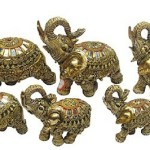 Classic set of Seven porcelain elephants