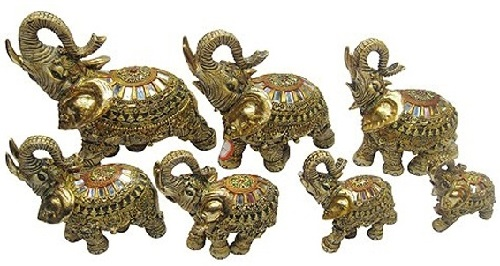 Classic set of Seven porcelain elephants