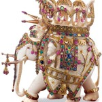 Figurine of elephant decorated with beads and rhinestones