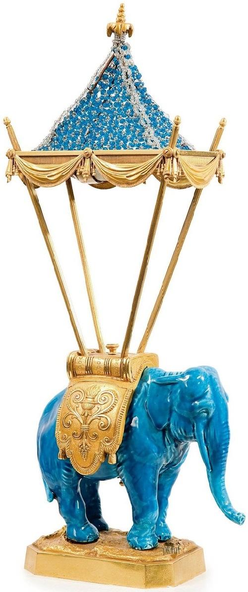 Blue porcelain elephant