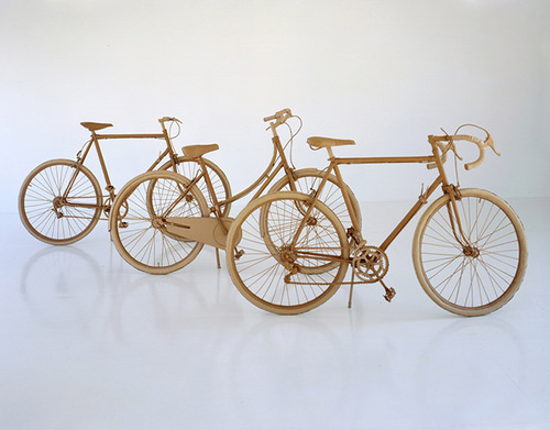 Four bicycles. Cardboard sculpture by British artist Chris Gilmour