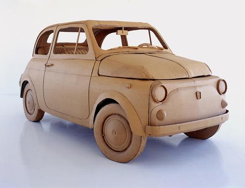 A car. Cardboard sculpture by British artist Chris Gilmour