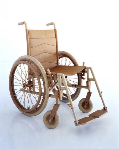 A wheelchair. Cardboard sculpture by British artist Chris Gilmour