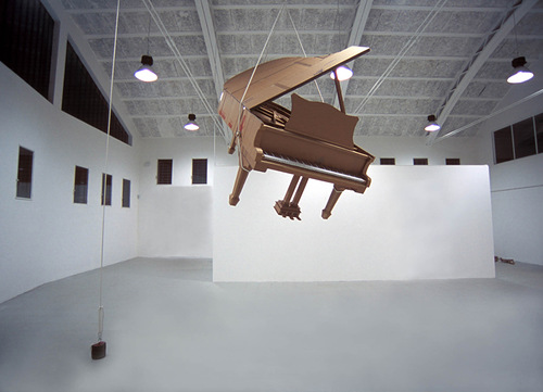 Piano. Cardboard sculpture by British artist Chris Gilmour