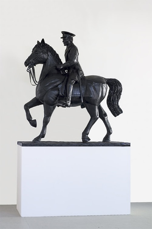 Warlord on horseback. Cardboard sculpture by British artist Chris Gilmour