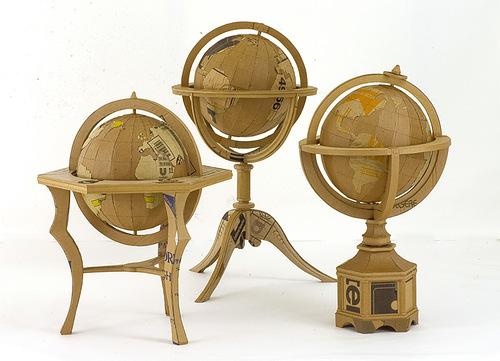 Globes. Cardboard sculpture by British artist Chris Gilmour
