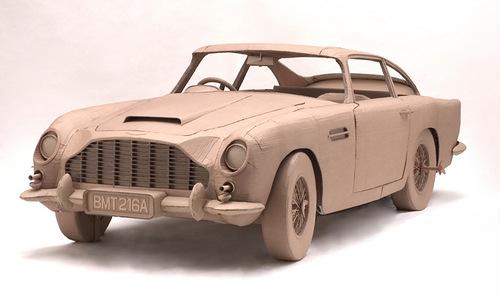 Automobile. Cardboard sculpture by British artist Chris Gilmour